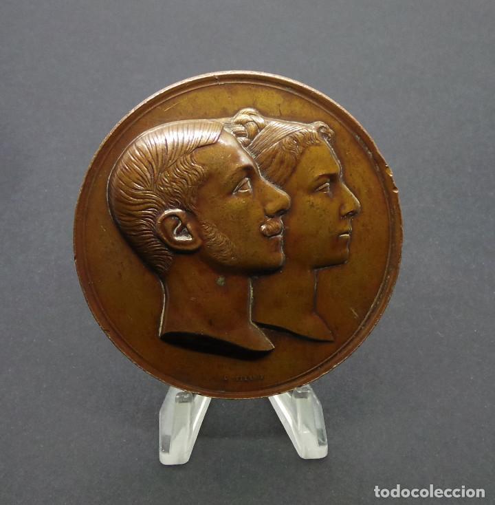 ALFONSO XII REY DE ESPAÑA. MARIA CRISTINA REINA. CASADOS. 29 NOVIEMBRE 1879. (Numismática - Medallería - Temática)