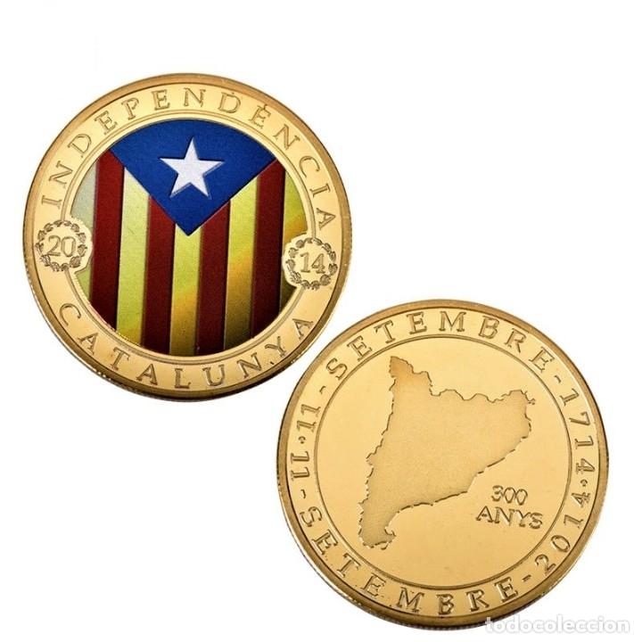 Medallas temáticas: MONEDA ORO INDEPENDIENCIA DE CATALUÑA 2014 GOLD PLATED EN CAJA + CERTIFICADO - Foto 2 - 233609885