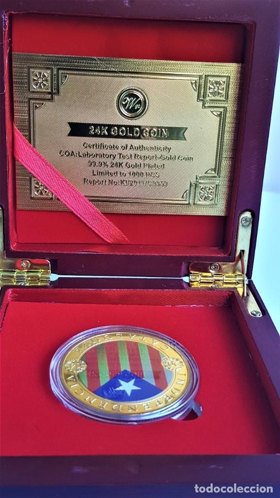 Medallas temáticas: MONEDA ORO INDEPENDIENCIA DE CATALUÑA 2014 GOLD PLATED EN CAJA + CERTIFICADO - Foto 4 - 233609885