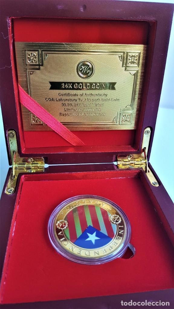 Medallas temáticas: MONEDA ORO INDEPENDIENCIA DE CATALUÑA 2014 GOLD PLATED EN CAJA + CERTIFICADO - Foto 11 - 233609885