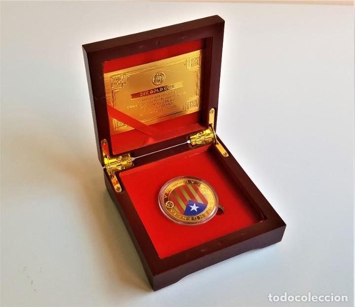 MONEDA ORO INDEPENDIENCIA DE CATALUÑA 2014 GOLD PLATED EN CAJA + CERTIFICADO (Numismática - Medallería - Temática)