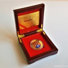 Médailles thématiques: MONEDA ORO INDEPENDIENCIA DE CATALUÑA 2014 GOLD PLATED EN CAJA + CERTIFICADO. Lote 193447325