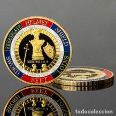 Medallas temáticas: MONEDA CONMEMORATIVA - ARMADURA DE PROTECCION - HELMET FEET - DIOS SOLDADO - . Lote 194186122