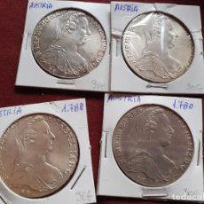 Medallas temáticas: AUSTRIA. MARÍA TERESA. THALER DE PLATA DE 1780. LOTE DE 4 REPRODUCCIONES. PLATA. Lote 194321353