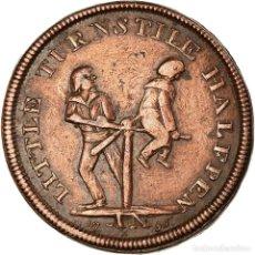 Medallas temáticas: GRAN BRETAÑA, HALFPENNY TOKEN, LITTLE TURNSTILE HALFPENNY - COINING PRESS. Lote 194698150