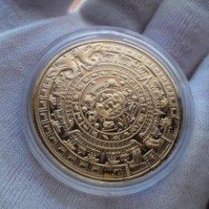 Medallas temáticas: CALENDARIO AZTECA DE MAYA - ENCAPSULADA - BAÑADA EN ORO 24 QUILATES - CON CERTIFICADO. Lote 194728767