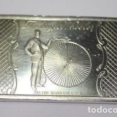 Medallas temáticas: 32,, LINGOTE DE EE. UU. 1 ONZA TROY DE PLATA 999 THE HIGH WHEELER, MADISON MINT. Lote 194943058