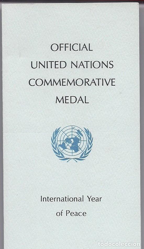 Medallas temáticas: MEDALLA OFICIAL DE PLATA PURA DE LAS NACIONES UNIDAS 1986 - AÑO INTERNACIONAL DE LA PAZ EN ESTUCHE - Foto 2 - 195331461