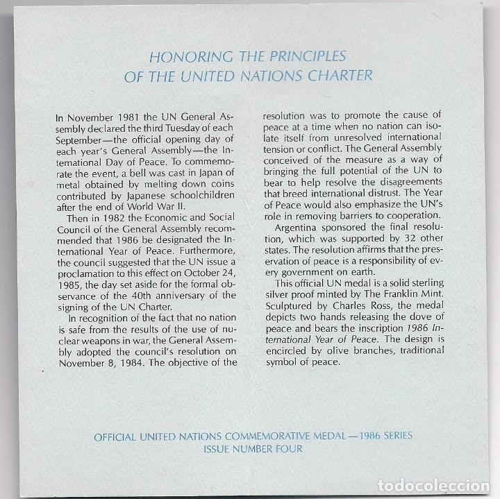 Medallas temáticas: MEDALLA OFICIAL DE PLATA PURA DE LAS NACIONES UNIDAS 1986 - AÑO INTERNACIONAL DE LA PAZ EN ESTUCHE - Foto 3 - 195331461