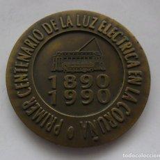 Medallas temáticas: 114,, RARA MEDALLA DEL PRIMER CENTENARIO DE LA LUZ ELECTRICA EN LA CORUÑA, UNION FENOSA 1890-1990. Lote 195429887