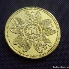 Medallas temáticas: 50 MOROCOTAS FICHA-MONEDA USADA EN LOS ALEROS DE MERIDA. VENEZUELA. COLECCIONABLE. Lote 195630411