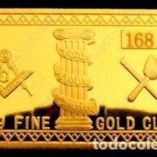 Medallas temáticas: LINGOTE CHAPADO EN ORO MASÓNICO A RELIEVE CON Nº DE SERIE (SERIE LIMITADA) ¡ OPORTUNIDAD !. Lote 197422580