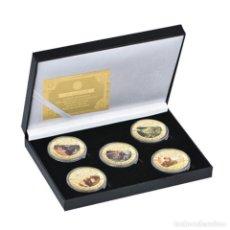 Medallas temáticas: ESTUPENDA COLECCIÓN DE 5 MONEDAS DE STAR WARS EN ESTUCHE DE TERCIOPELO.. Lote 210673136