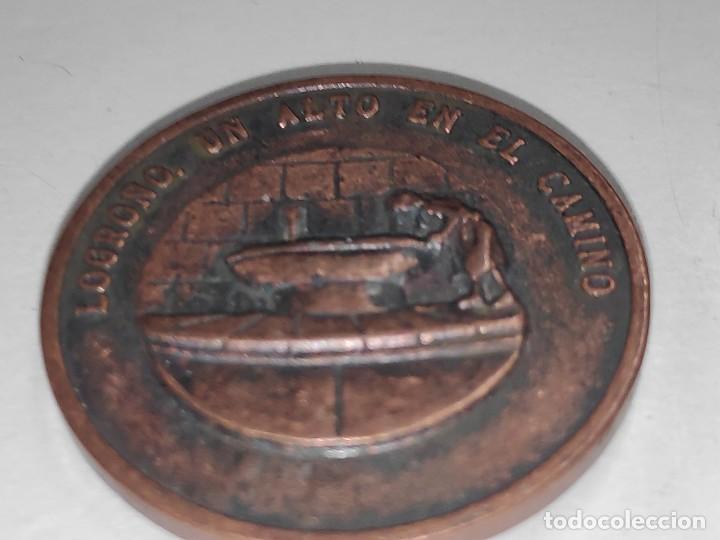LOGROÑO UN ALTO EN EL CAMINO-MEDALLA BRONCE VIEJO (Numismática - Medallería - Temática)