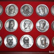 Medallas temáticas: SERIE DE 15 MEDALLAS EN PLATA DE PERSONAJES CELEBRES. JOAN MIRO - RAMON CASAS - JACINT VERDAGUER.... Lote 198336632