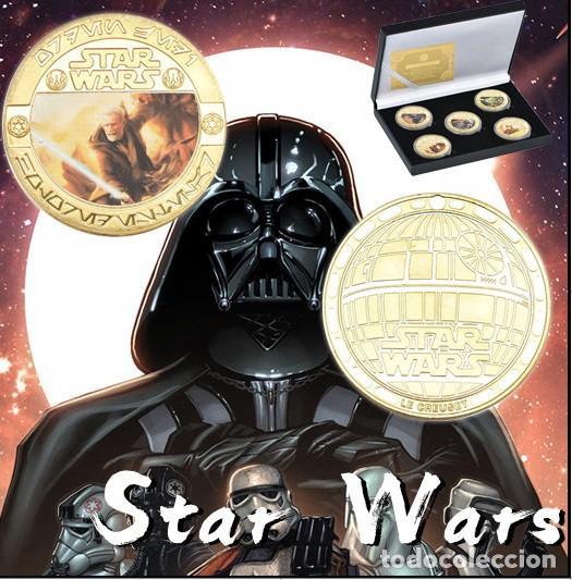 Medallas temáticas: ESTUPENDA COLECCIÓN DE 5 MONEDAS DE STAR WARS EN ESTUCHE DE TERCIOPELO. - Foto 2 - 210673136