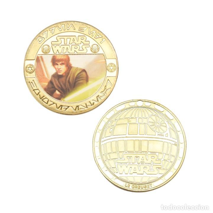 Medallas temáticas: ESTUPENDA COLECCIÓN DE 5 MONEDAS DE STAR WARS EN ESTUCHE DE TERCIOPELO. - Foto 4 - 210673136