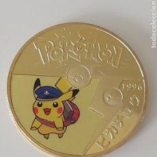 Medallas temáticas: EXCLUSIVA MONEDA DE ORO DE COLECCION DE PIKACHU (MODELO 2). Lote 295729393