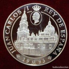 Medallas temáticas: 10.000 PESETAS PLATA - AÑO SANTO JACOBEO PEREGRINOS MEDIEVALES - CATEDRAL SANTIAGO. Lote 199552898