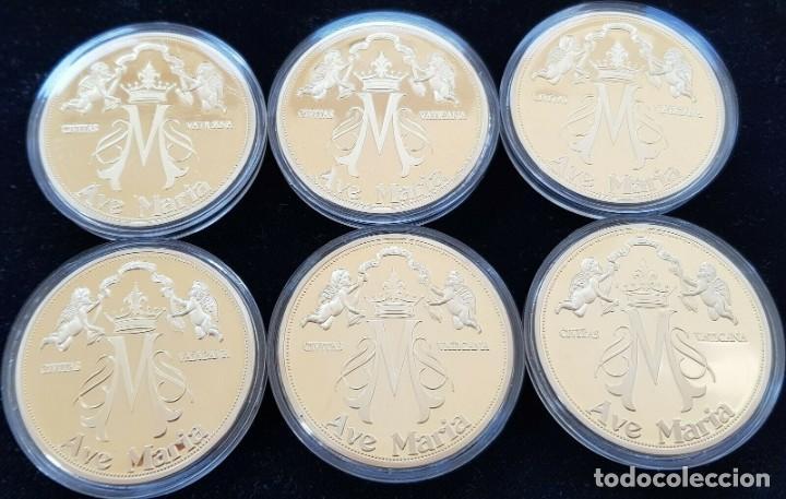 Medallas temáticas: BONITA COLECCION DE 6 MONEDAS AVE MARIA DE LA CIUDAD DEL VATICANO EDICION LIMITADA CON CERTIFICADO - Foto 4 - 202841032