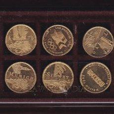 Medallas temáticas: COLECCION COMPLETA DE 10 MONEDAS CONMEMORATIVAS DE LOS JUEGOS OLIMPICOS CON BAÑO DE ORO. Lote 203035262