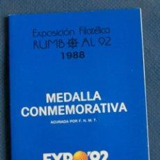 Medallas temáticas: MEDALLA FNMT 1988 EN CARTERA CONMEMORATIVA EXPO 92 -. Lote 263629465