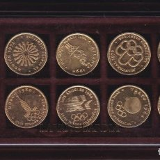 Medallas temáticas: COLECCION COMPLETA DE 10 MONEDAS CONMEMORATIVAS DE LOS JUEGOS OLIMPICOS CON BAÑO DE ORO. Lote 205395260