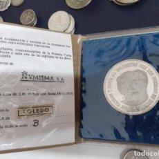 Medallas temáticas: TOLEDO. MEDALLÓN DE PLATA DE 915. NUMISMA. VISITA DE LOS REYES 1976. Lote 206501753