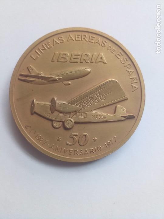MEDALLA BRONCE ANIVERSARIO 50 IBERIA 1977 LÍNEAS AEREAS (Numismática - Medallería - Temática)