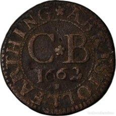 Medallas temáticas: REINO UNIDO, FARTHING, FARTHING BRISTOL, 1662, BC+, COBRE. Lote 207139090