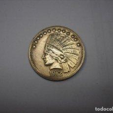 Medallas temáticas: FICHA DE BRONCE DE PARQUE DE ATRACCIONES USA. CON INDIO 1912. Lote 207177820