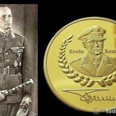 Medallas temáticas: BONITA MONEDA CON ORO 24K ALEMANIA DE ERWIN ROMMEL FIRMA 1891-1944 DEUTSCHE WEHRMACHT NAZI COIN. Lote 179605248