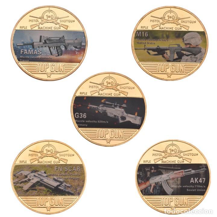 COLECCION 5 MONEDAS ARMAS AK47 - G36 - M16 - FAMAS - FN SCAR - CHAPADO EN ORO 24 KILATES (Numismática - Medallería - Temática)