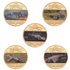Medallas temáticas: COLECCION 5 MONEDAS ARMAS AK47 - G36 - M16 - FAMAS - FN SCAR - CHAPADO EN ORO 24 KILATES. Lote 209543500