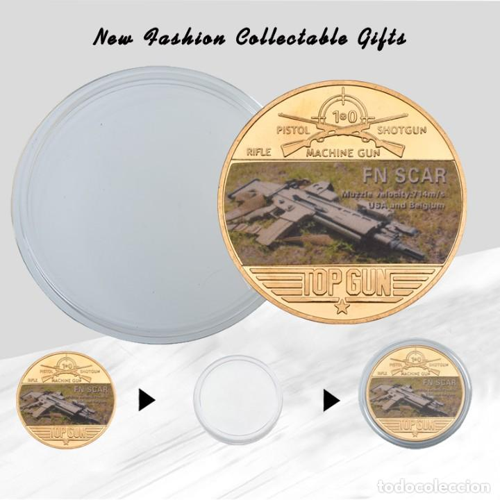 Medallas temáticas: COLECCION 5 MONEDAS ARMAS AK47 - G36 - M16 - FAMAS - FN SCAR - CHAPADO EN ORO 24 KILATES - Foto 3 - 209543500