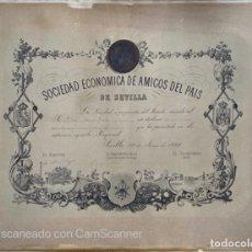 Medallas temáticas: SOCIEDAD ECONOMICA DE AMIGOS DEL PAIS DE SEVILLA. 1880. D. MANUEL GROSSO. VER. Lote 210192476