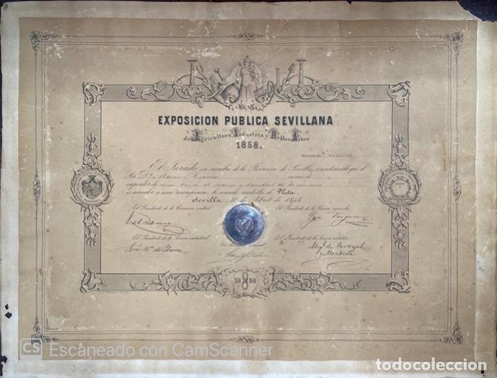 EXPOSICION PUBLICA SEVILLANA. SEVILLA, 1858. MEDALLA DE PLATA. D. MANUEL GROSSO. VER FOTOS (Numismática - Medallería - Temática)