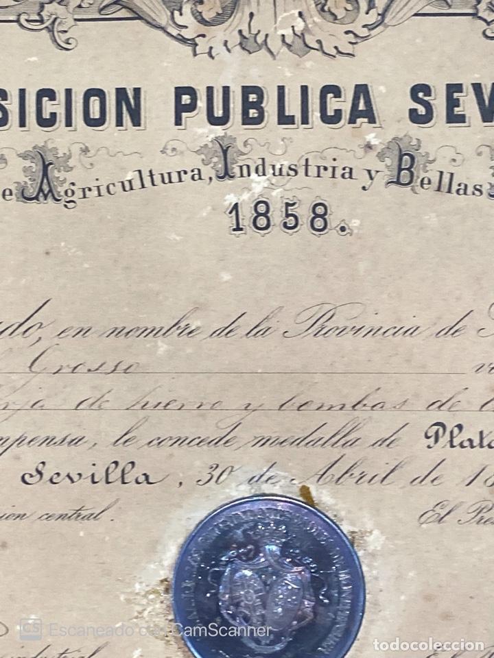Medallas temáticas: EXPOSICION PUBLICA SEVILLANA. SEVILLA, 1858. MEDALLA DE PLATA. D. MANUEL GROSSO. VER FOTOS - Foto 9 - 210193615