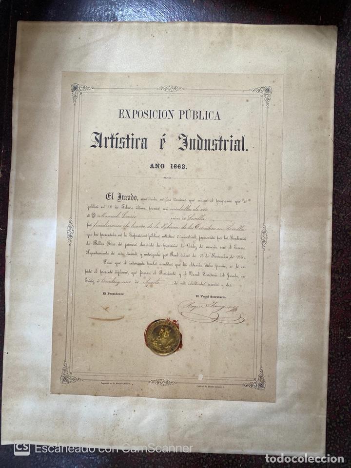 EXPOSICIÓN PÚBLICA ARTÍSTICA E INDUSTRIAL. CADIZ, 1862. MEDALLA A D. MANUEL GROSSO. VER FOTOS (Numismática - Medallería - Temática)