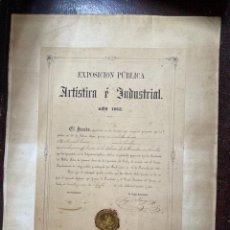 Medallas temáticas: EXPOSICIÓN PÚBLICA ARTÍSTICA E INDUSTRIAL. CADIZ, 1862. MEDALLA A D. MANUEL GROSSO. VER FOTOS. Lote 210194257