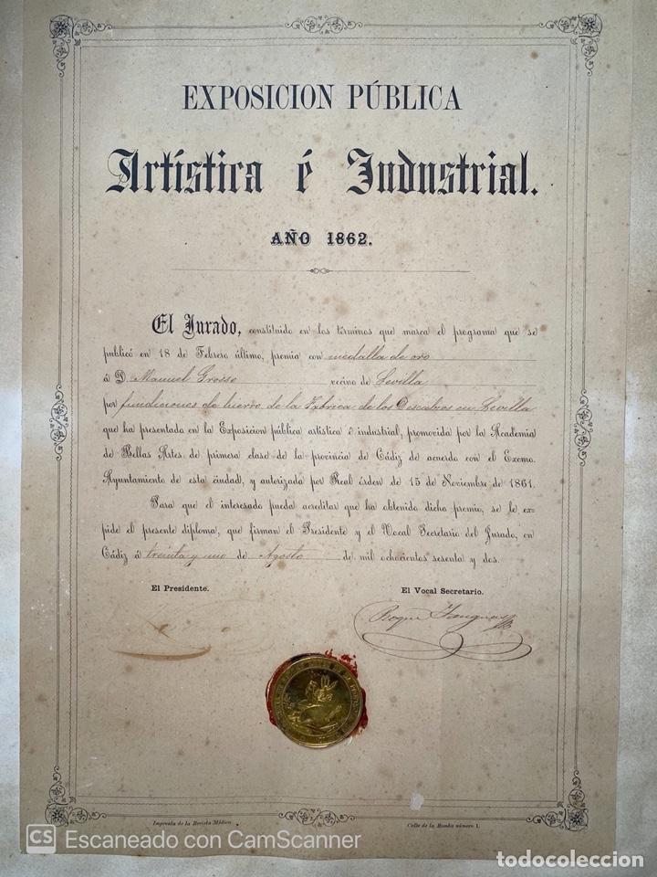 Medallas temáticas: EXPOSICIÓN PÚBLICA ARTÍSTICA E INDUSTRIAL. CADIZ, 1862. MEDALLA A D. MANUEL GROSSO. VER FOTOS - Foto 2 - 210194257