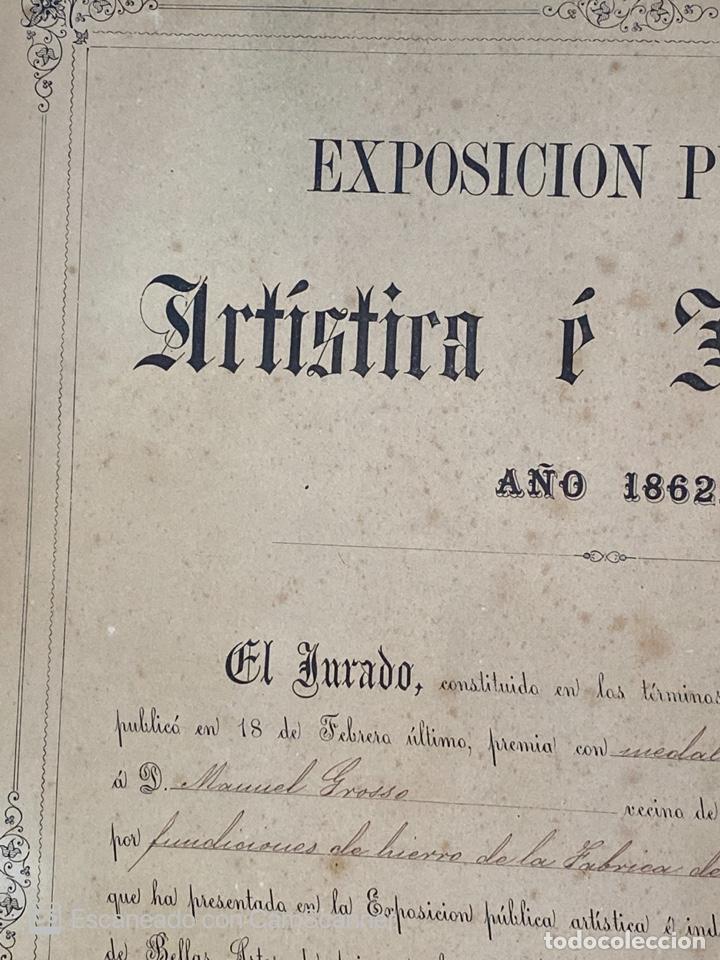 Medallas temáticas: EXPOSICIÓN PÚBLICA ARTÍSTICA E INDUSTRIAL. CADIZ, 1862. MEDALLA A D. MANUEL GROSSO. VER FOTOS - Foto 3 - 210194257