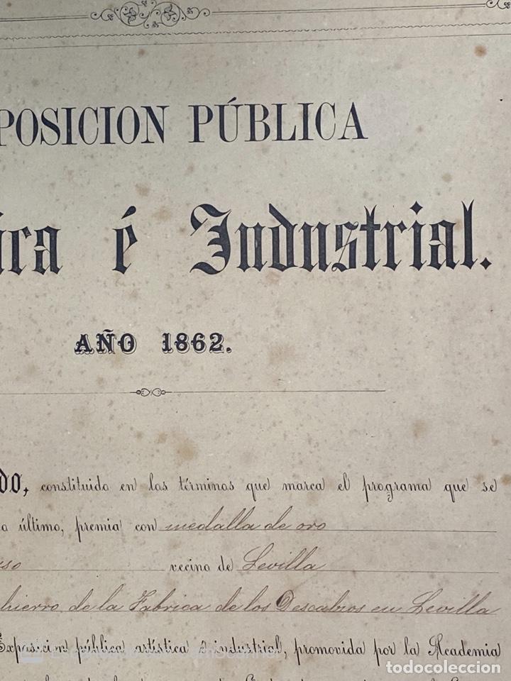 Medallas temáticas: EXPOSICIÓN PÚBLICA ARTÍSTICA E INDUSTRIAL. CADIZ, 1862. MEDALLA A D. MANUEL GROSSO. VER FOTOS - Foto 4 - 210194257