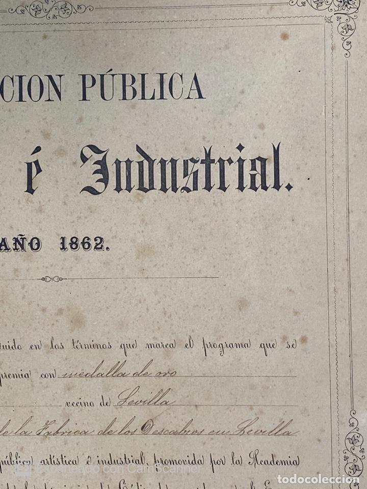 Medallas temáticas: EXPOSICIÓN PÚBLICA ARTÍSTICA E INDUSTRIAL. CADIZ, 1862. MEDALLA A D. MANUEL GROSSO. VER FOTOS - Foto 5 - 210194257