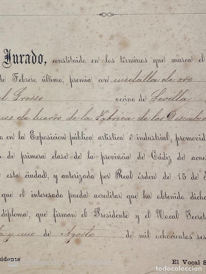 Medallas temáticas: EXPOSICIÓN PÚBLICA ARTÍSTICA E INDUSTRIAL. CADIZ, 1862. MEDALLA A D. MANUEL GROSSO. VER FOTOS - Foto 7 - 210194257