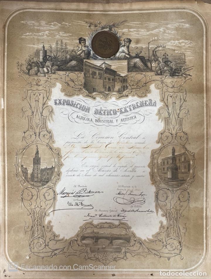 EXPOSICION BÉTICO EXTREMEÑA. MEDALLA A D. MANUEL GROSSO. SEVILLA, 1874. VER FOTOS (Numismática - Medallería - Temática)