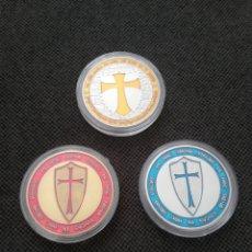 Medallas temáticas: LOTE 3 MONEDAS MASÓNICA CABALLEROS TEMPLARIOS. Lote 211398609