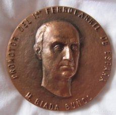 Medallas temáticas: MEDALLA. M. BIADA BUÑOL. PROMOTOR DEL 1ER FERROCARRIL DE ESPAÑA. D. Lote 212364501