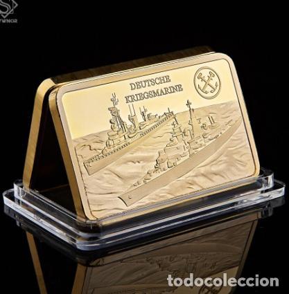 LINGOTE ALEMANIA NAZI - BUQUES DE GUERRA - DEUTSCHE KRIEGMARINE - ORO 24KT - EDICION LIMITADA (Numismática - Medallería - Temática)