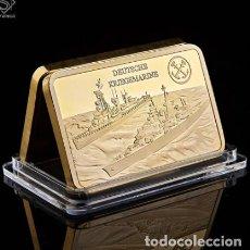 Medallas temáticas: LINGOTE ALEMANIA NAZI - BUQUES DE GUERRA - DEUTSCHE KRIEGMARINE - ORO 24KT - EDICION LIMITADA. Lote 214808296